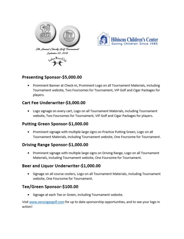 Vero Beach Charity Golf Tournament Sponsorship Opportunities